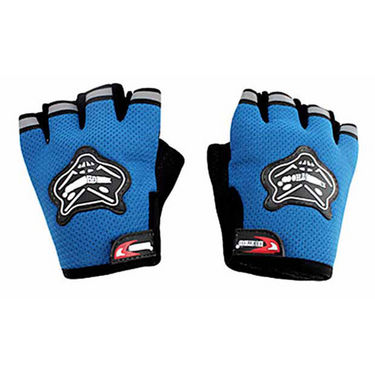 KnightHood Half Cut Riding Gloves - Blue