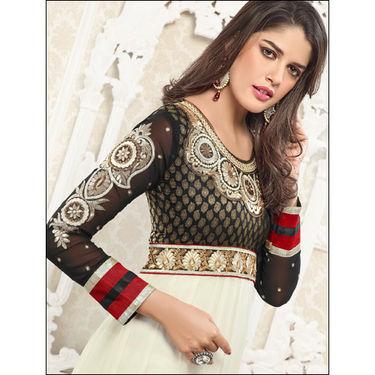 Adah Fashions Georgrtte Semi-Stitched Dress Material - White & Black