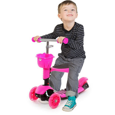 3 in 1 Sit or Kick & Height Adjustable Scooter for Kids - Pink
