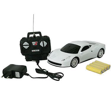 AdraXx 1:24 Scale Super Sports Toy RC Car With Rechargeable Batteries - White