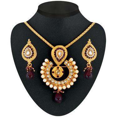 Anmol 1 Gram Gold Plated 14 Jewellery Set - AKSO