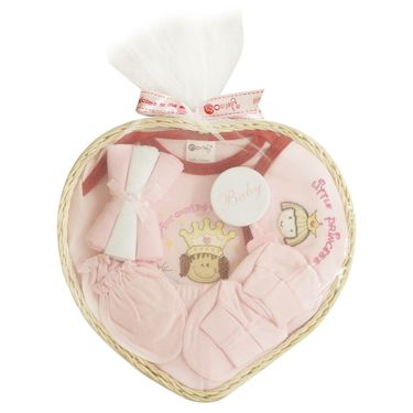 Montaly Heart Shape 9 Piece Baby Gift Set - Pink