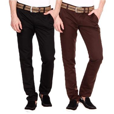 Blimey Pack of 2 Chinos - Black & Dark Brown