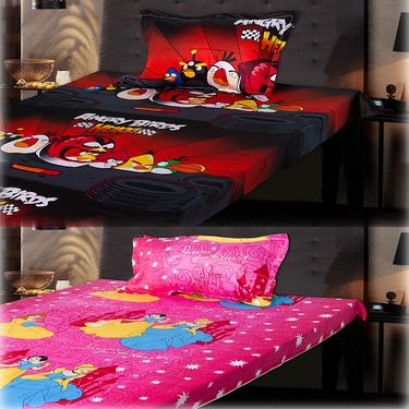 Set of 2 Beautiful Princess and Red Angry Birds Kids Single Bedsheet with 2 Pillow Cover-CHFSBD106