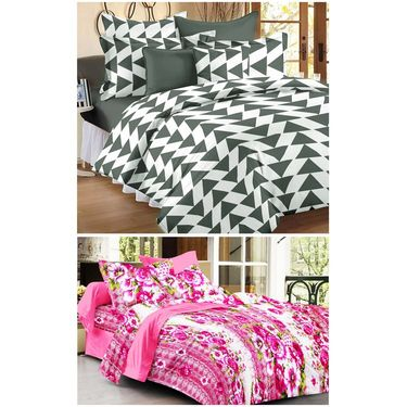 Set of 2 Double Bedsheet with 4 Pillow Cover-1246-1401
