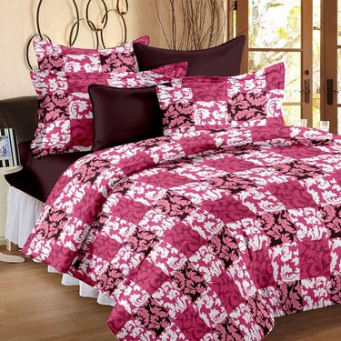 Set of 4 100% Cotton Double Bedsheet With 8 Pillow Cover-1203_56