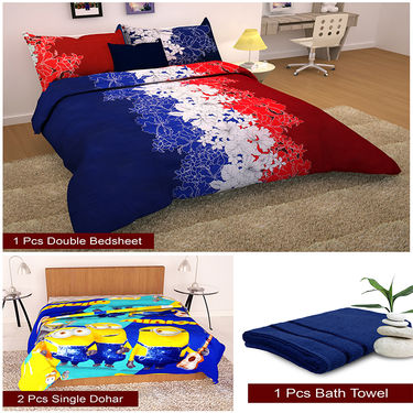 Storyathome Combo Of 1 Pc Cotton Double Bedsheet With 2 Pillow Cover, 2 Single Dohar/AC Micro Fiber Quilt , 1 Pc Cotton Bath Towel-CN_1231-FB_2-1204S-TW1207-X