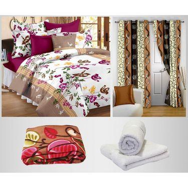 Combo of 100% Cotton Double Bedsheet, Blanket, Curtain Set & Hand Towel Set-CN_1264