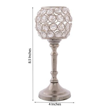 eCraftIndia Love Moments Oval Shape Crystal Tea Light Holder with Stand-CRYS121