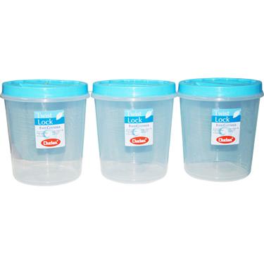Chetan 3Pcs (7 Ltr) Twist Lock Kitchen Storage Container Set - Blue