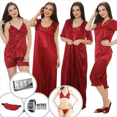 Clovia Satin Plain Nightwear - Maroon - NSM259G09
