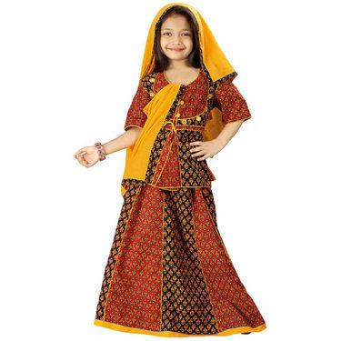 Little India Colourful Bagru Design Ethnic Lehanga Choli - DLI3GED108B
