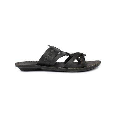 Columbus Synthetic Leather Black Sandals -2507