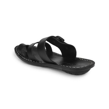 Columbus Synthetic Leather Black Sandals -2512