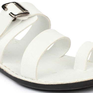Columbus Synthetic Leather White Sandals -2512
