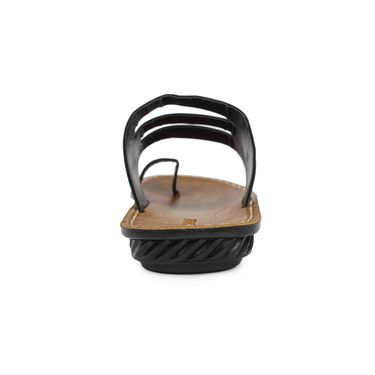 Columbus Synthetic Leather Black Sandals -2702