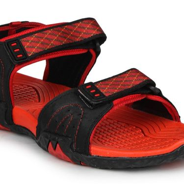 Columbus PU Black & Red Casual Floaters -Ab-773