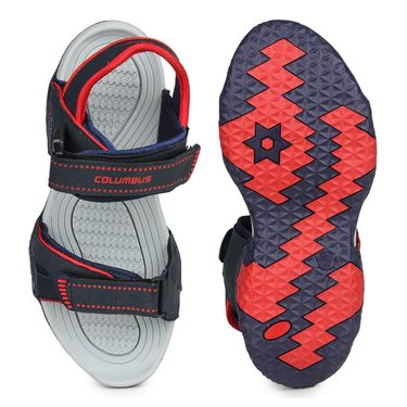 Columbus PU Grey, Blue & Red Casual Floaters -Ab-774