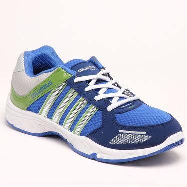 Combo of Stylish Designer Jeans + Columbus Sports Shoes - Blue & Green