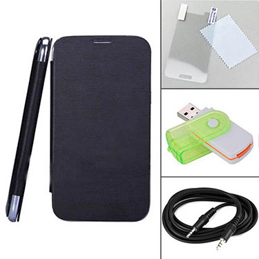 Combo of Camphor Flip Cover (Black) + Screen Protector for Gionee P3 + Aux Cable + Multi Card Reader