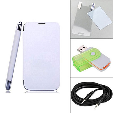 Combo of Camphor Flip Cover (White) + Screen Protector for Micromax A250 + Aux Cable + Multi Card Reader