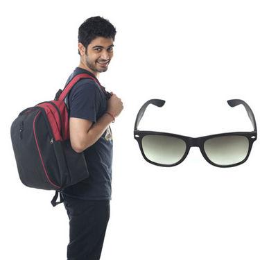 Combo of Fidato Backpack - Black + Wayfarer Sunglass-4186