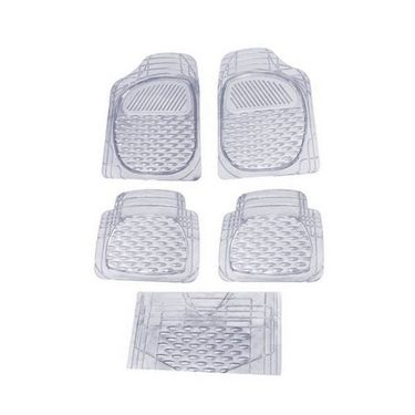 AutoStark SET OF 5 Premium Transparent White Car Floor/Foot Mats