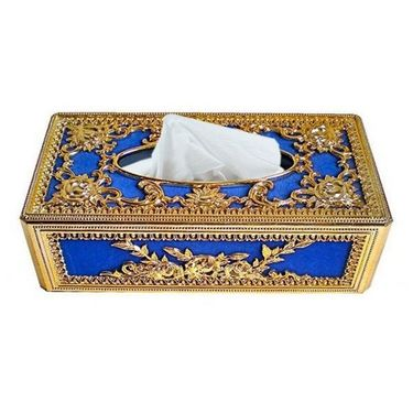 AutoStark Royal Blue Golden Designer Tissue Holder Box