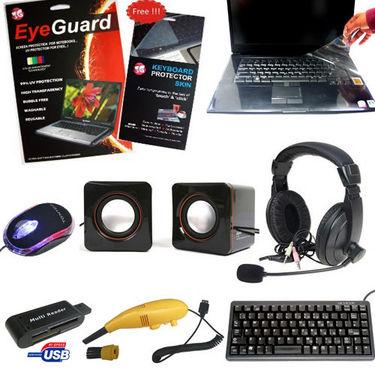 Multimedia Combo of Complete Laptop Kit + Keyboard + Mouse + Speaker + Heaphones + Protector Kit