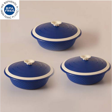 Set of 3 Cutting Edge Carnation Double Walled Casseroles - Blue