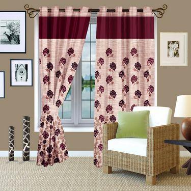 Story @ Home Maroon Jacquard 1 pc Door curtain-7 feet-DBR4015