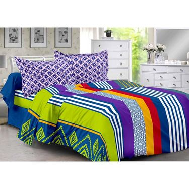 Valtellina 100% Cotton Double Bedsheet with 2 Pillow Cover-6012-A