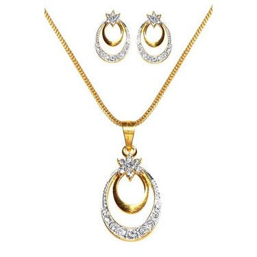 Dg Jewels 24k Gold and Silver Plated Bollywood Collection of Beautiful 3 Pendant Set - DGPSCombo002