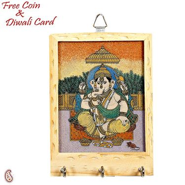 Wooden Key Hanger with Gemstone accented Ganesh Painting