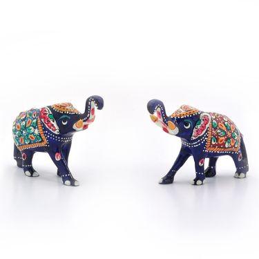 Little India Enamel Work Decorative Elephant Pair Gift -133