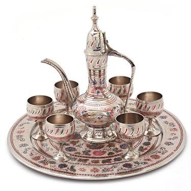 Little India Pure Brass Antique Royal Wine Set Handicraft -155
