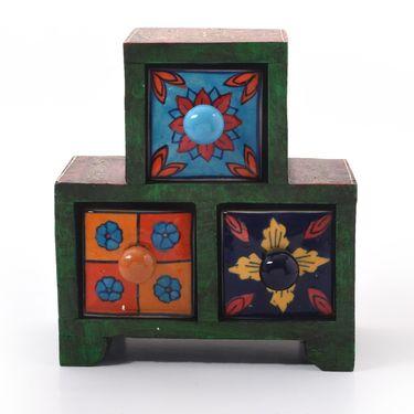 Little India Wooden Ceramic Blue Pottery Triple Drawer Set 263