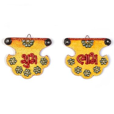 Little India Kundan Work Fan Shape Shubh Labh Door Hangings 276