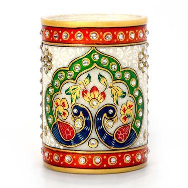 Little India Gold Meenakari Mayur Design White Marble Pen Stand 386