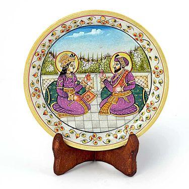 Little India Mumtaj Shahjahan Gold Meenakari Marble Painting 394