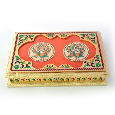 Little India Golden Meenakari Peacock Pair Design Dryfruit Box 431