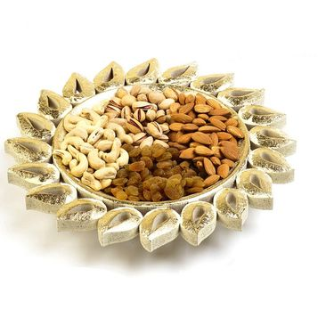 Floral Shape Gold Finish Dry fruits Tray_DMB08