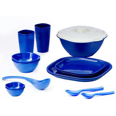 Kitchen Duniya Square Dinner Set 16 Pcs-Electric Blue