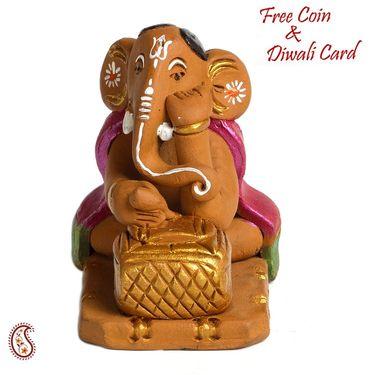 Aapno Rajasthan Multicolor Terracotta Cow & Ganesh Vase