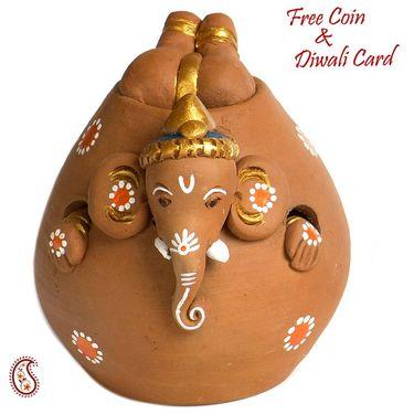 Aapno Rajasthan Brown & Purple Terracotta Ganesh Holding Baby Ganesh Showpiece