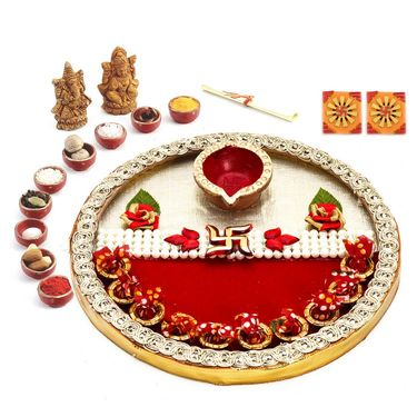 Beautiful Kundan Studded Paisley Design Diwali Pooja Thali