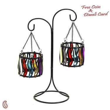 Aapno Rajasthan Weight Balance Colored Glass Tea Light Holders
