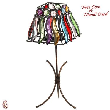 Colored Glass Square Lamp Shade Design Tea Light Holder