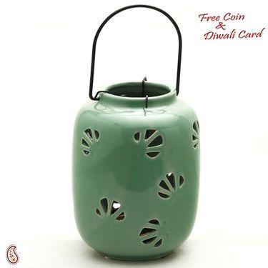 Green Ceramic Holder Hanging Tea light Lantern
