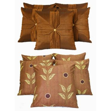 Dekor World Ultima Brown Combo. Cushion Cover(Pack of 10 Pcs)-DWCB-128